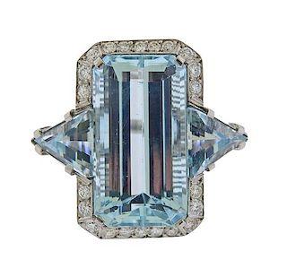 Platinum 28.76ctw Aquamarine Diamond Ring