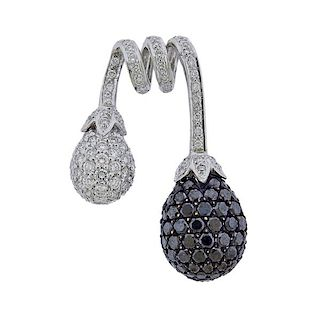 18K Gold White Black Diamond Pendant