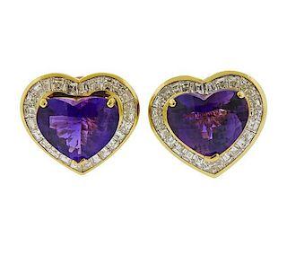 18K Gold Diamond Amethyst Heart Earrings