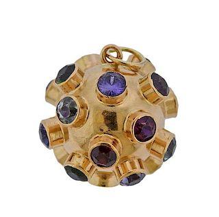 18k Gold Multi Gemstone Sputnik Charm