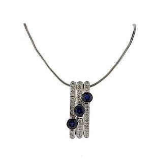 14K Gold Diamond Sapphire Pendant Necklace