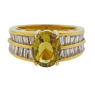 18K Gold Diamond Chrysoberyl Ring