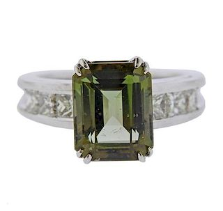 18K Gold Diamond Green Tourmaline Ring