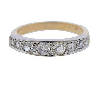 Antique 14k Gold Platinum Diamond Band Ring