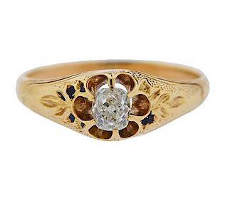 Antique 18k Gold Old Mine Diamond Engagement Ring