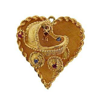 Mid Century 14K Gold Ruby Sapphire  Heart Pendant