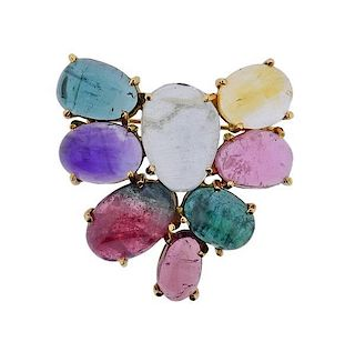 14k Gold Gemstones Cabochon Brooch Pin