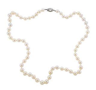 Art Deco Platinum Diamond Pearl Necklace