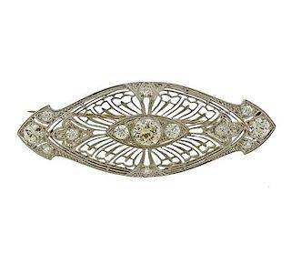 Art Deco Platinum 0.70ct Diamond Brooch Pin