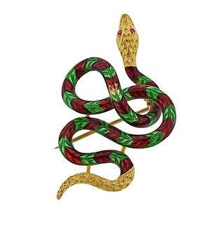 18k Gold Enamel Pink Gemstone Snake Brooch Pin