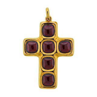 Pomellato 18k Gold Garnet Cross Pendant