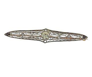 Art Deco 14k Gold Platinum 0.91ct Diamond Brooch Pin