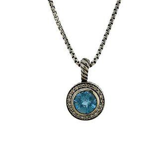 David Yurman Silver Diamond Blue Topaz Pendant Necklace