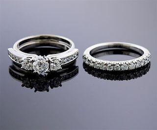 14k Gold Diamond Engagement Wedding Ring Set