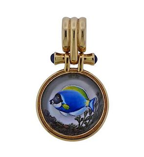 14k Gold Sapphire Reverse Painting Fish Pendant