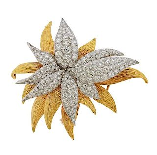 French 18k Gold 10.50ctw Diamond Brooch Pin