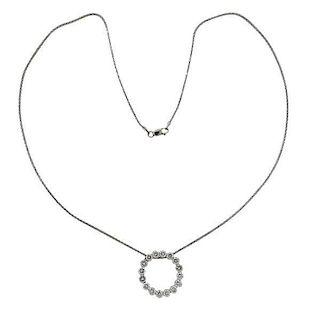 14k Gold Diamond Circle Pendant Necklace