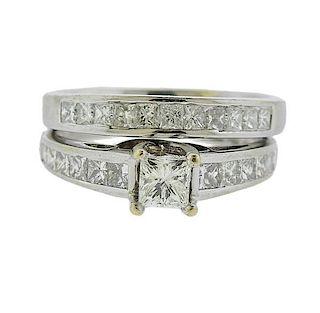 14k Gold Diamond Engagement Wedding Bridal Ring Set