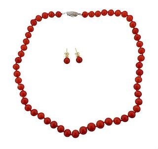 14k Gold Silver Coral Earrings Necklace