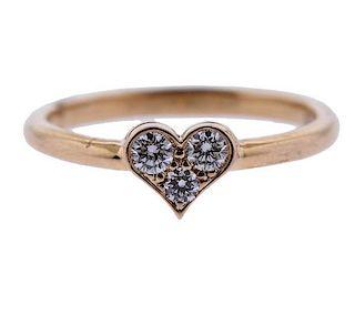Tiffany & Co 18K Gold Diamond Heart Ring