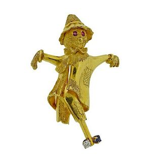 18k Gold Diamond Ruby Sapphire Scarecrow Brooch