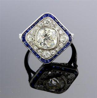 Art Deco Platinum 1.70ct Old Mine Diamond Engagement Ring