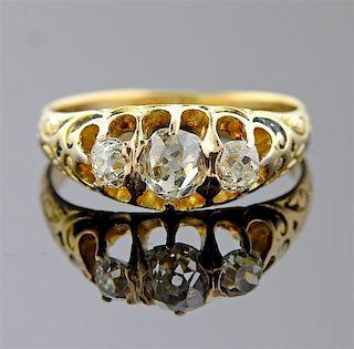 Antique 14k Gold Old Mine Diamond Ring