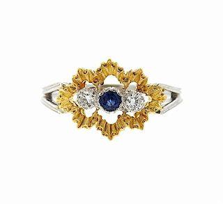 Buccellati 18k Gold Diamond Sapphire Ring