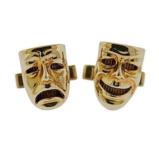 14k Gold Comedy Tragedy Mask Cufflinks
