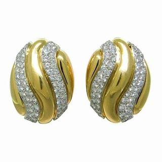David Webb Diamond 18k Gold Platinum Earrings