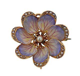 Antique 14k Gold Enamel Pearl Flower Brooch Pendant