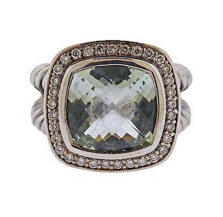 David Yurman Silver Diamond Prasiolite Albion Ring