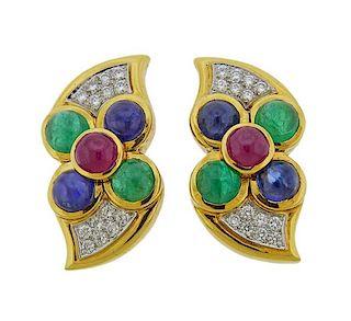 David Webb 18k Platinum Diamond Sapphire Ruby Earrings