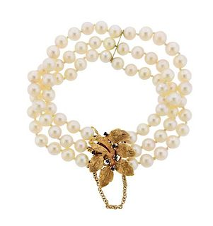 1960s 14k Gold Pearl Sapphire Leaf Bracelet