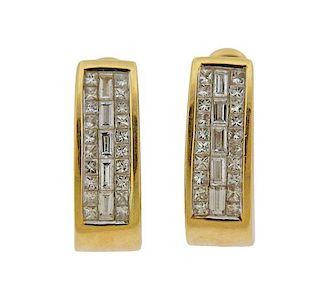 14k Gold Diamond Hoop Huggie Earrings