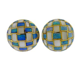 Tiffany & Co Inlay Opal Mother of Pearl 18k Gold Earrings