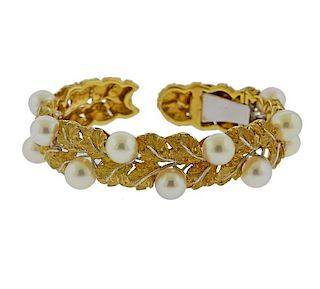 Buccellati 18k Gold Pearl Leaf Bracelet