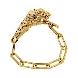 Gucci 18k Gold Diamond Tiger Toggle Bracelet