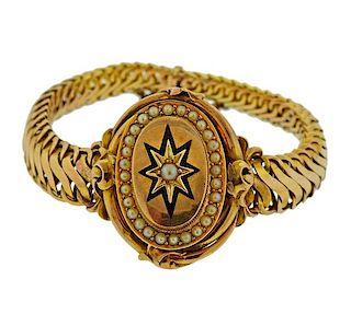 Antique Victorian 14k Gold Pearl Enamel Bracelet