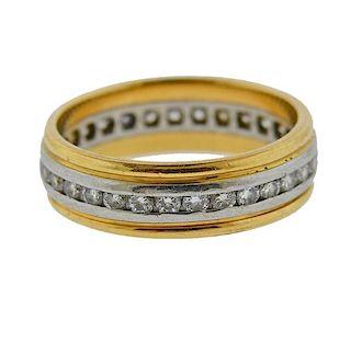 Antique 18k Gold Platinum Diamond Wedding Band Ring
