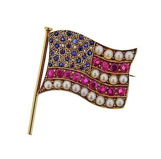 Antique 14k Gold Diamond Pearl American Flag Brooch
