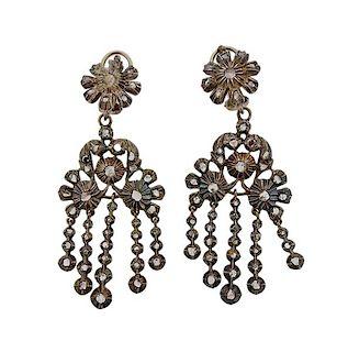 Antique Gold Silver Rose Cut Diamond Chandelier Earrings