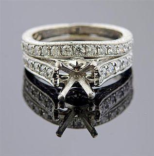 Shane & Co Platinum Diamond Bridal Ring Setting