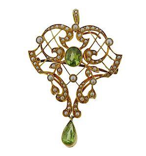 Antique 14k Gold Pearl Peridot Brooch Pendant