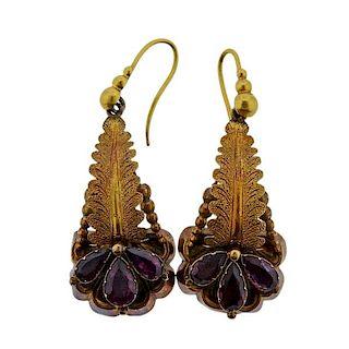 Antique Gold  Purple Stone Drop Earrings