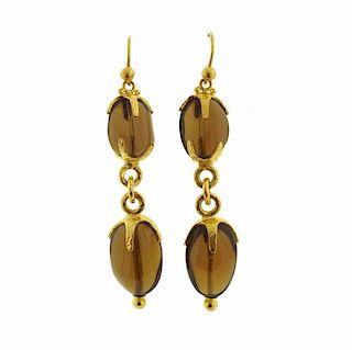Gurhan 24K Gold Cognac Citrine Drop Earrings