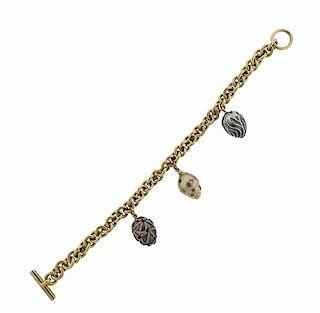 Boregaard 18k Gold Fancy Diamond Toggle Charm Bracelet