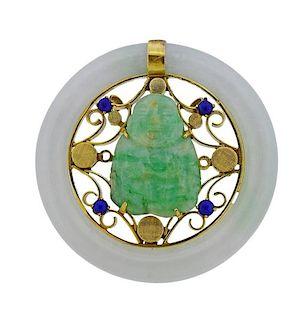 14K Gold Carved Jade Buddha Sapphire Pendant