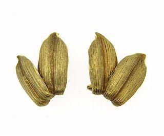 Buccellati 18K Gold Leaf Motif Earrings