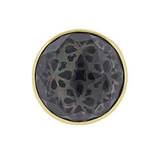 Ippolita Rock Candy 18k Gold Onyx Shell Quartz Phantom  Ring